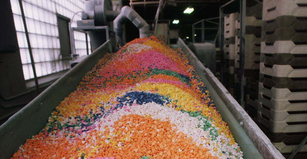 Colorful Candy Hearts At Factory Valentines Day