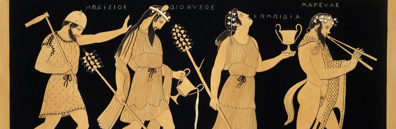 19th century, vase illustration, dionysus, three figures