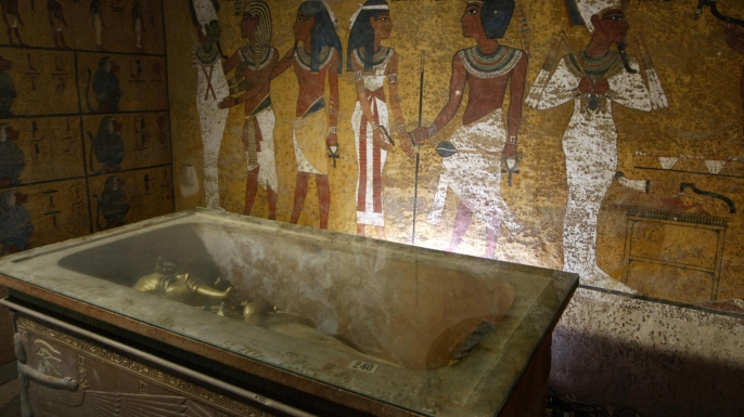The interior of King Tut's tomb. (Credit: CRIS BOURONCLE/AFP/Getty Images)