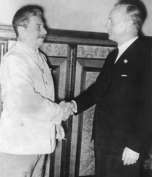 Stalin and Ribbentrop at signing of nonaggression pact