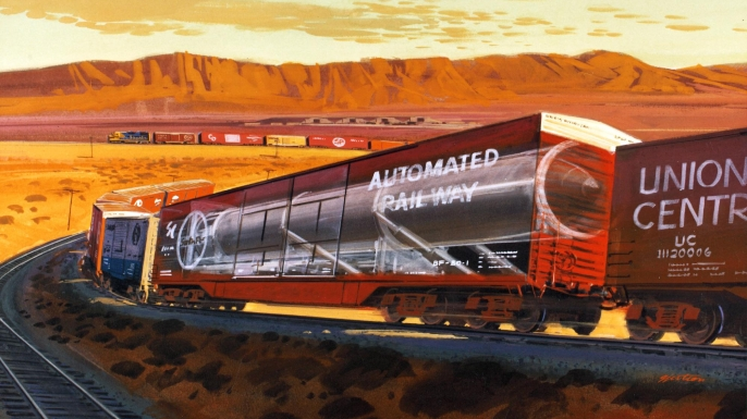 Artist's rendition of a missile in a rail car. (Credit: San Diego Air & Space Museum)