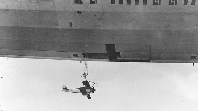 Aircraft being released from USS Akron.