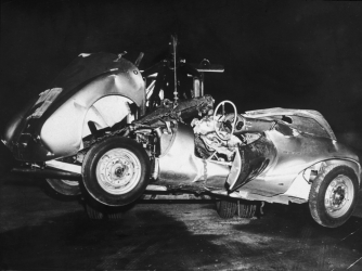 The mangled remains of 'Little Bastard,' James Dean's Porsche Spyder sports car in which he died during a high-speed car crash in 1955. (Credit: Hulton Archive/Getty Images)