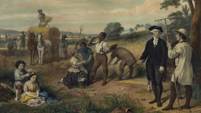 Washington standing among African-American field workers harvesting grain. (Credit: Buyenlarge/Getty Images)