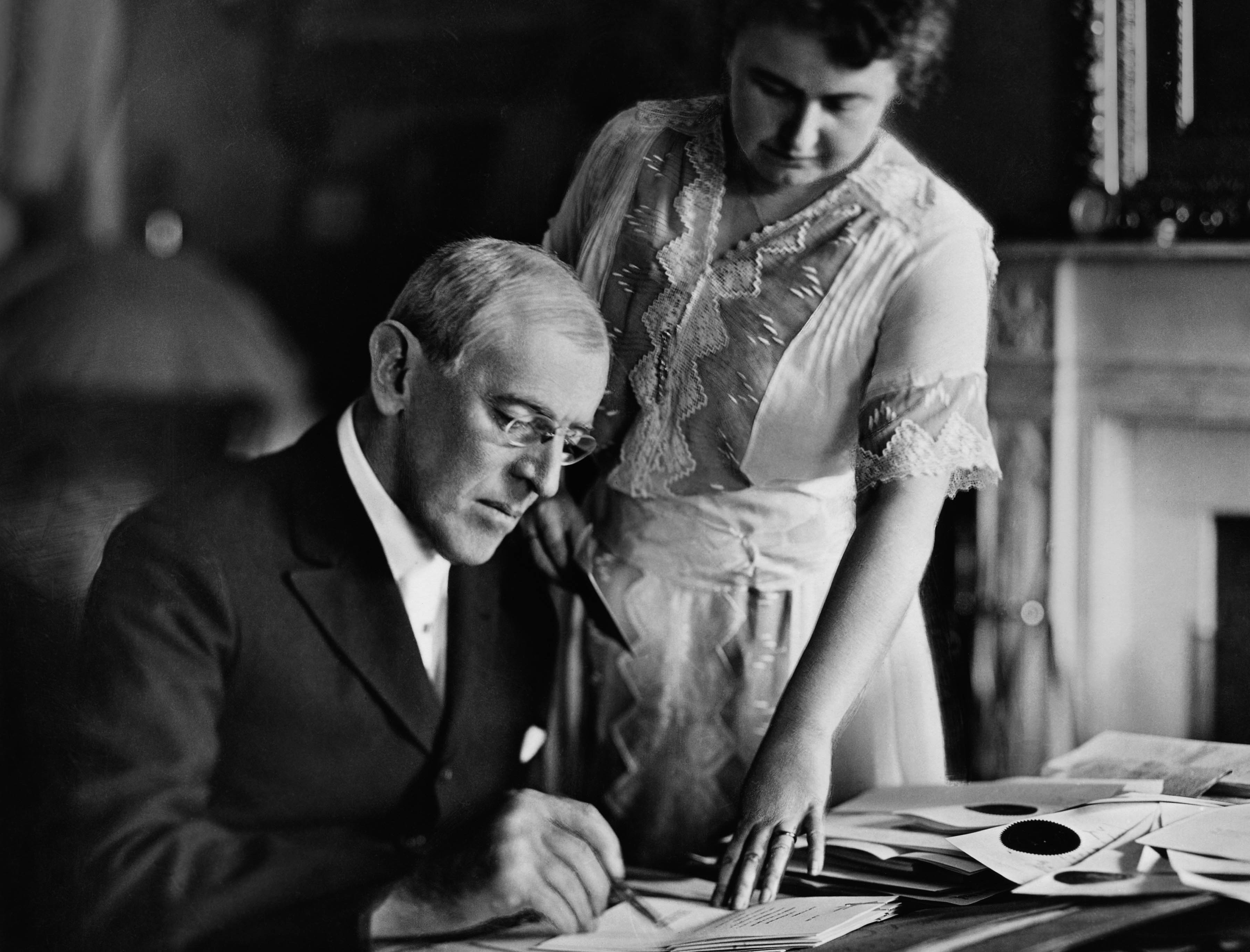 "President Woodrow Wilson with his second wife Edith Bolling Galt Wilson, who was often referred to as ""secret president"" because of the important role she played in Wilson's presidency during his long and debilitating illness following a stroke. (Credit: Stock Montage/Getty Images)"