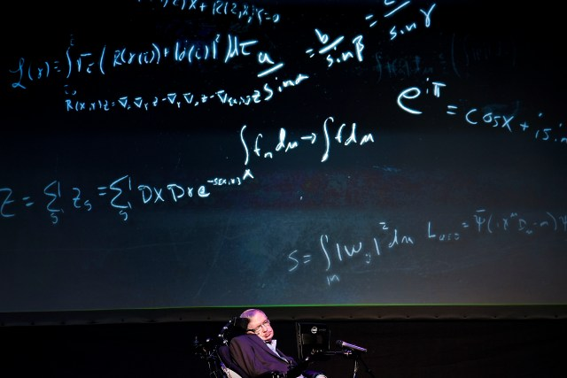 """Professor Stephen Hawking giving a lecture entitled: """"A Brief History of Mine"""" during the Starmus Festival on the Spanish Canary island of Tenerife on June 29, 2016. (Credit: Desiree Martin/AFP/Getty Images)"""