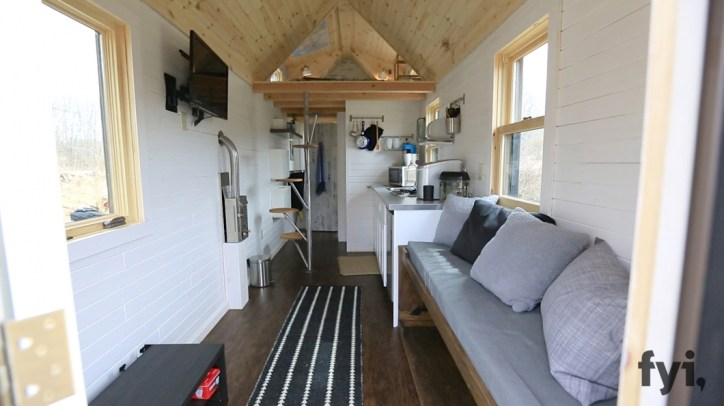 Tiny Houses Modern Interior Kitchen and Living Room with Black and White Area Rug