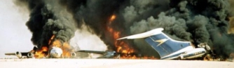 Two of the airliners detonated by the hijackers at Dawson's Field on September 12, 1970.