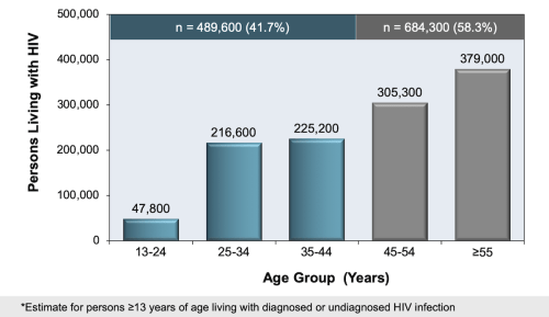 small resolution of figure 5 persons living with diagnosed and undiagnosed hiv in united states 2013 age categories percent