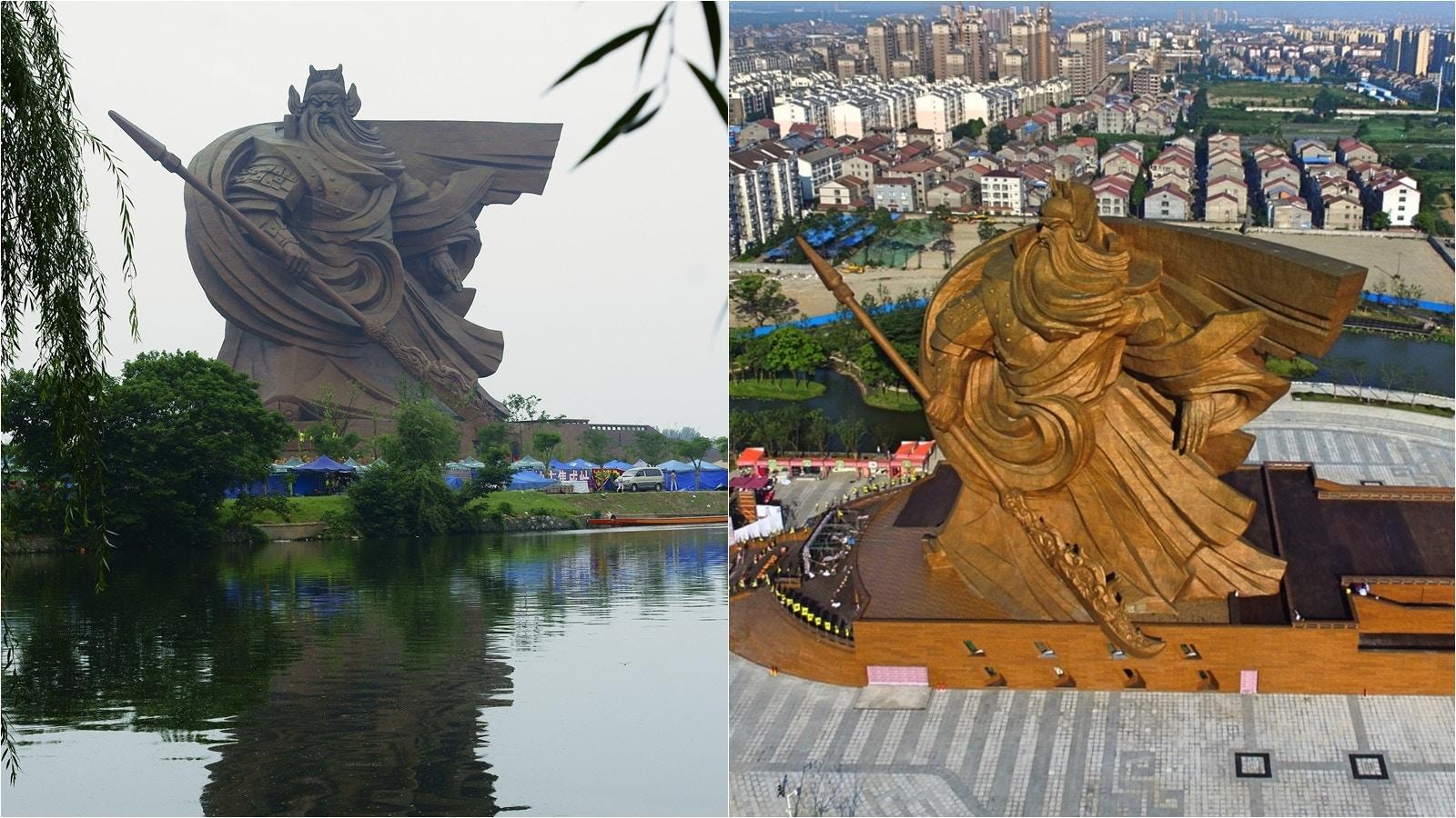 住建部通報湖北荊州關公雕像違規須整改 此前被揭屬違建且現沉降|香港01|即時中國
