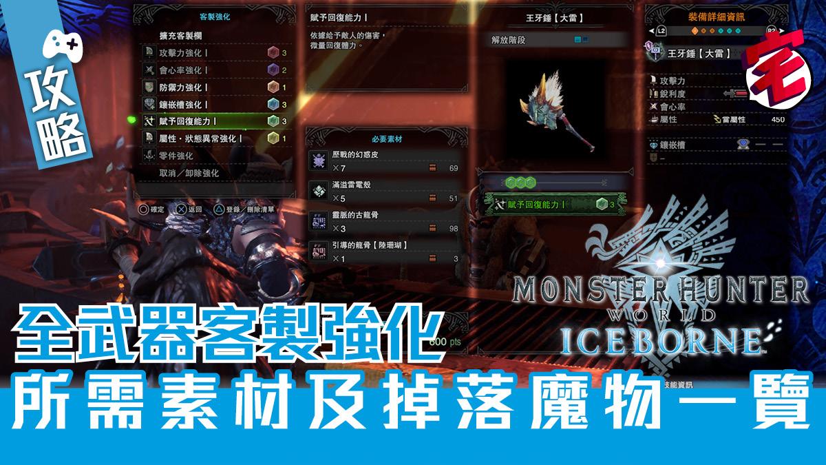 【MHW ICEBORNE 攻略】全武器客製強化所需素材及掉落魔物一覽