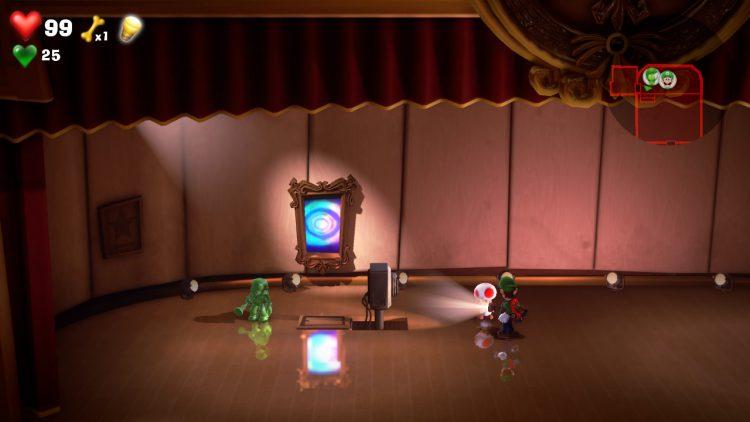 Green Gem Location Auditorium Stage 750x422 - Luigi's Mansion 3 - Guida: dove trovare tutte le gemme dei piani 3 e 4
