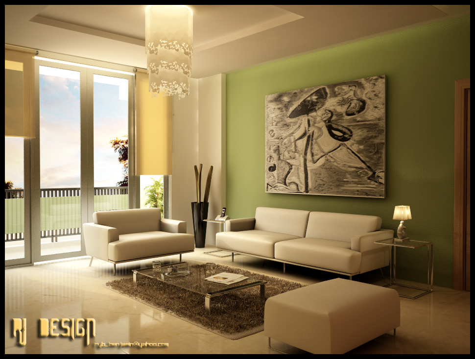 Green Living Room  Green furniture