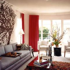 Red And White Living Room Arrange With Corner Fireplace 28 Rooms Ideas