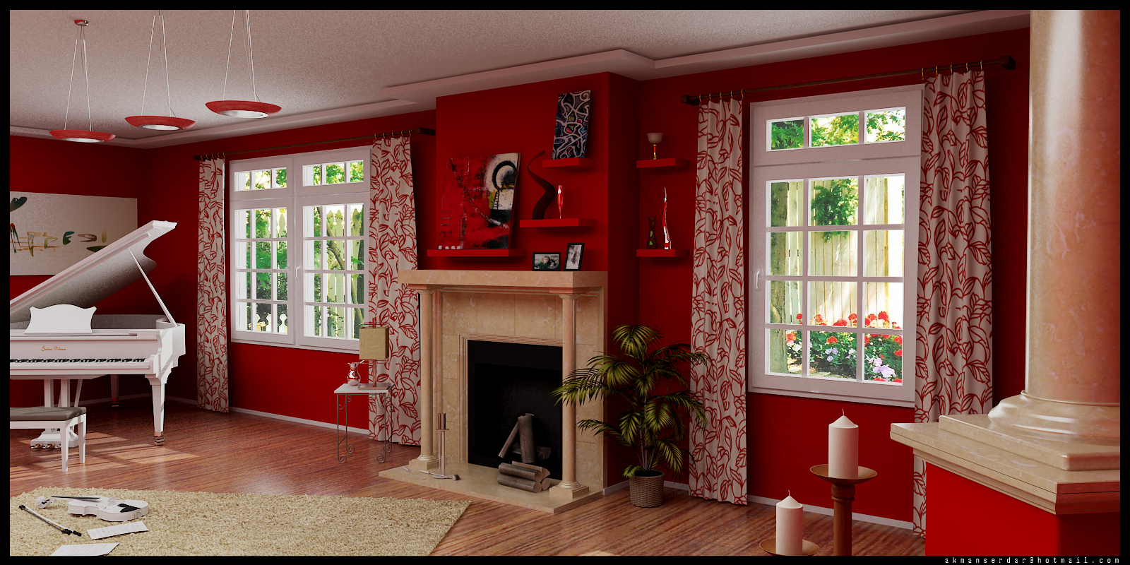 Living Room Red Colour Schemes