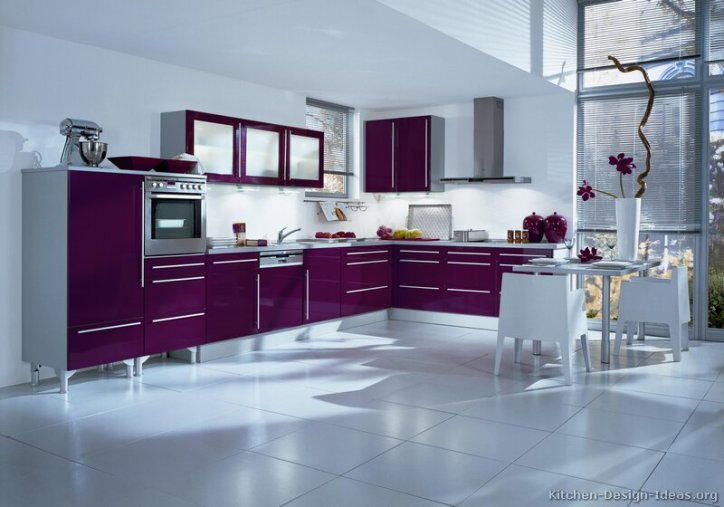 Kitchen Color Schemes with Purple Cabinets Cabinetry Pop of Color White Walls Interior Design Home Decor Remodel Design Paint