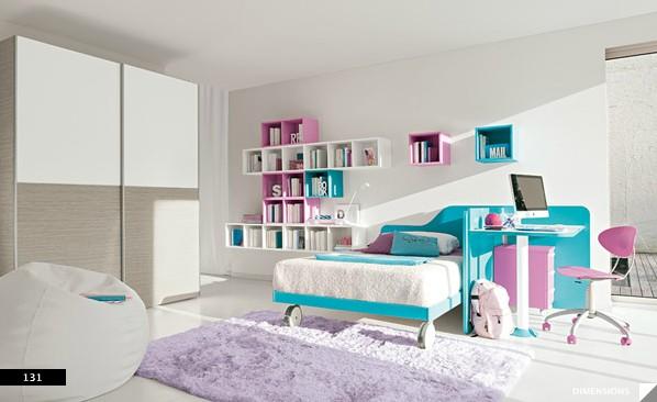 minimal furniture yields big in girls bedroom  Interior Design Ideas