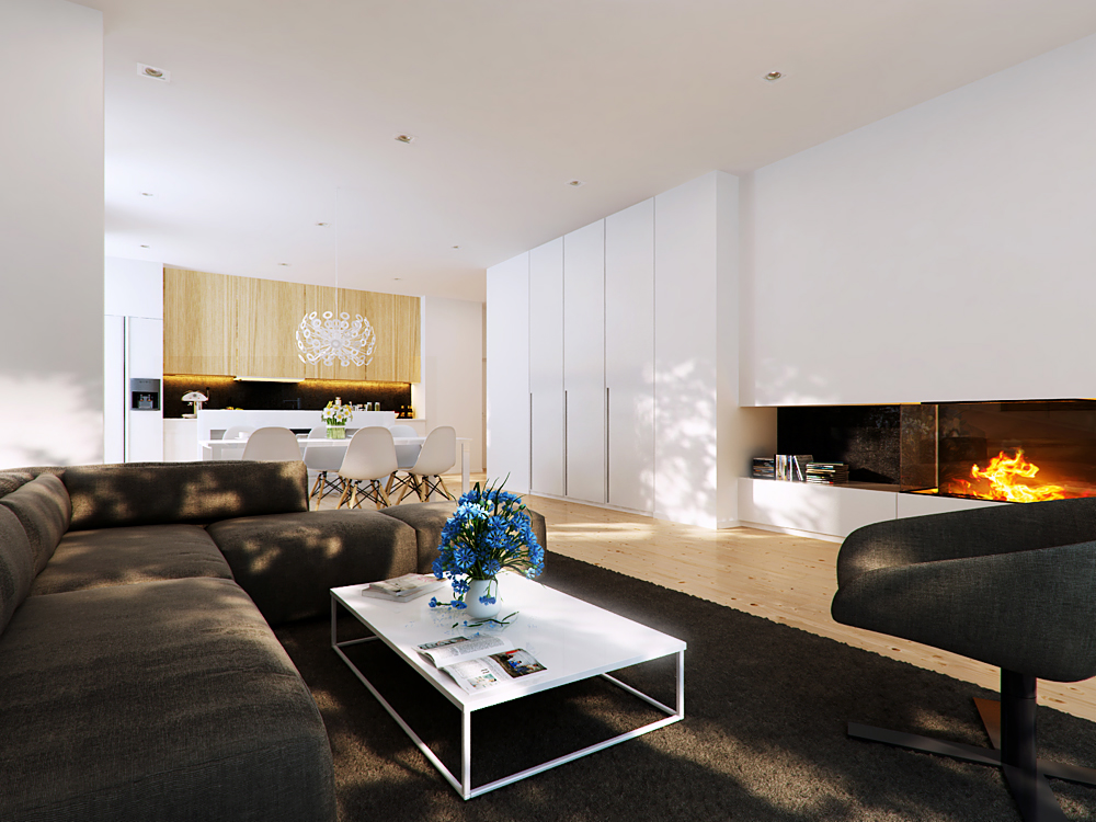 brown modern living area with modern fireplace  Interior