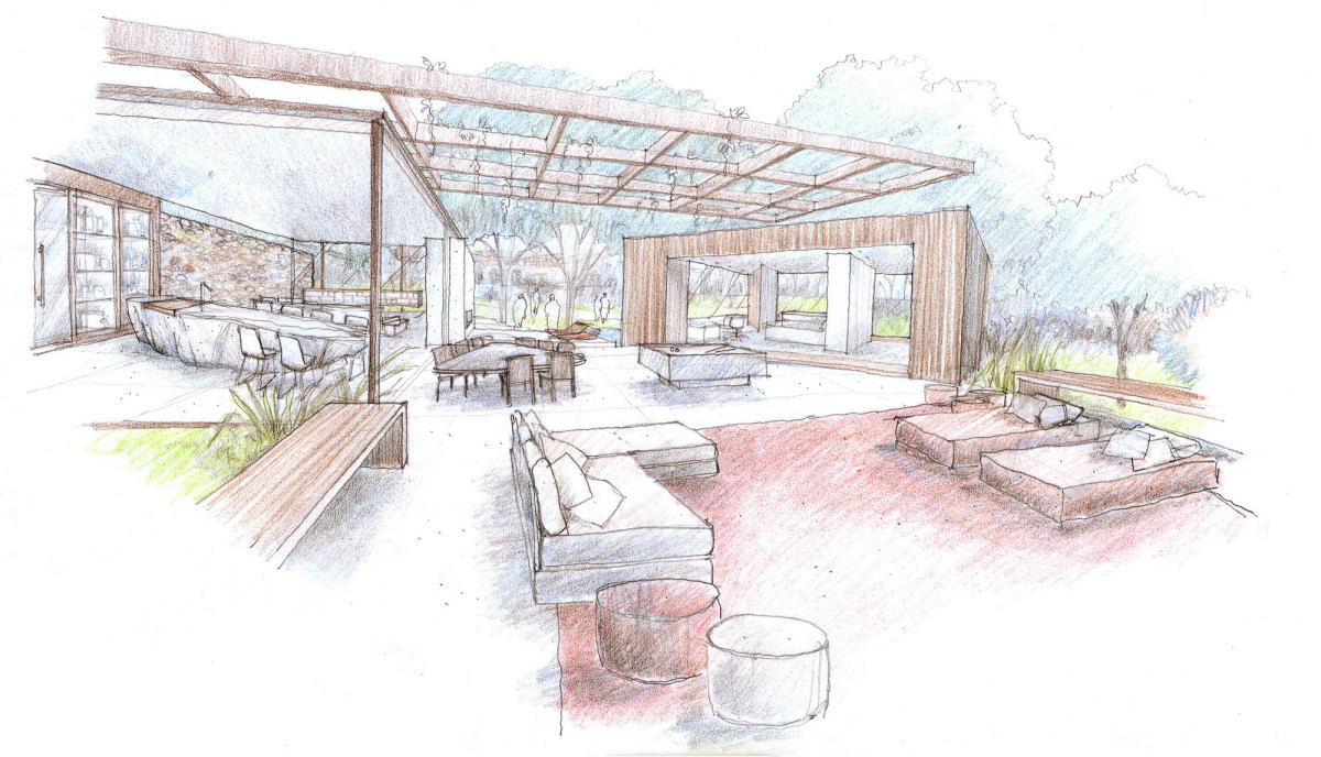 Outdoor Indoor House Sketch Interior Design Ideas
