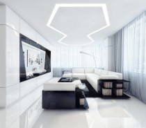 white-and-black-entertainment-room-210x185 Black, White & Beige Apartment For The Fashionista
