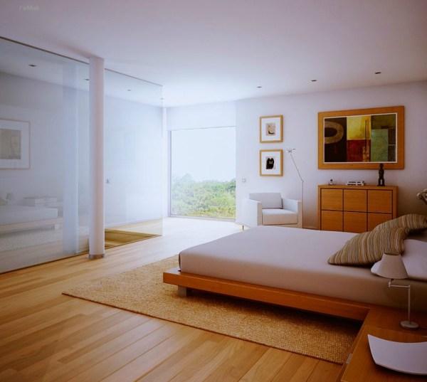white floors in bedroom white bedroom, wood floors and view | Interior Design Ideas.