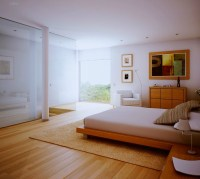 white bedroom, wood floors and view