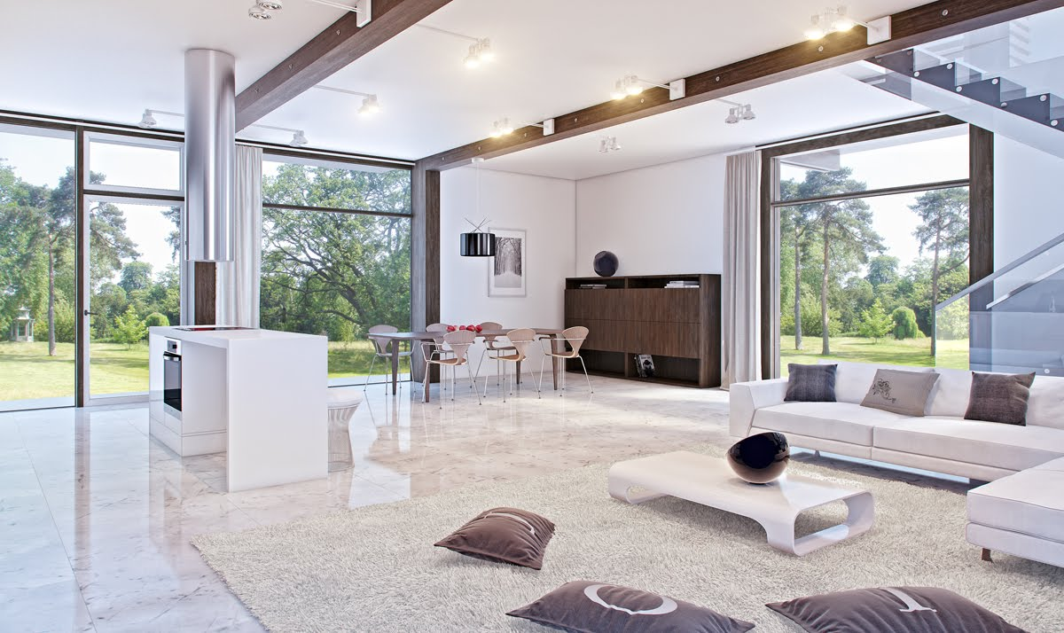 white marble living room with glass accents  Interior