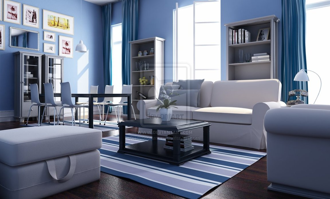 Blue White Living Rooms