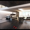 Car in home brown and white living room with car 665x383