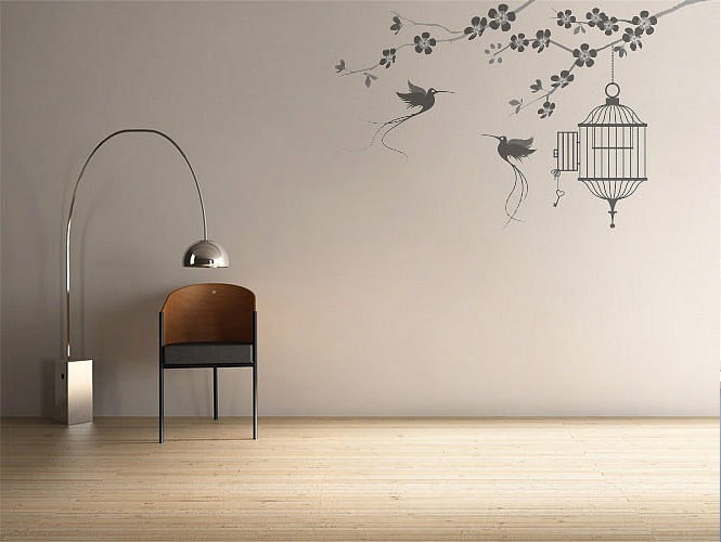 wall stickers birds and cage  Interior Design Ideas