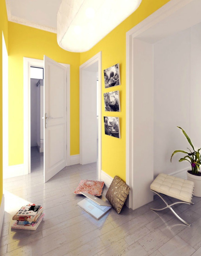 polish firm yellow and white hallway  Interior Design Ideas
