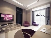 Purple white home study | Interior Design Ideas.