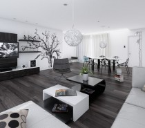 14-Black-and-white-living-dining-room-210x185 Black, White & Beige Apartment For The Fashionista