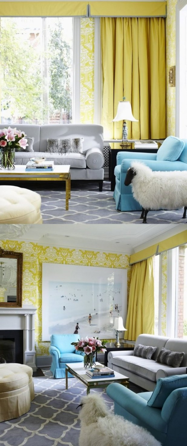 Gray blue and yellow bedroom - Yellow Room Interior Inspiration 55 Rooms For Your Viewing Pleasure