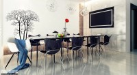 7 black white dining room tree wall decal   Interior ...