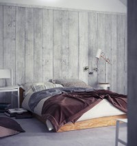 Wood wall panelling platform bed
