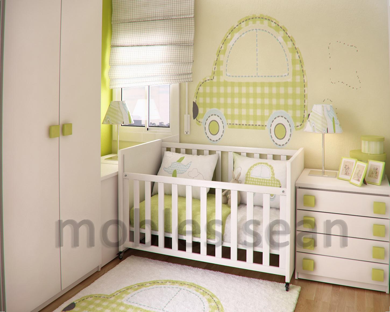 green white baby nursery room