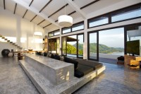 Concrete floor stone furniture gray living room | Interior ...