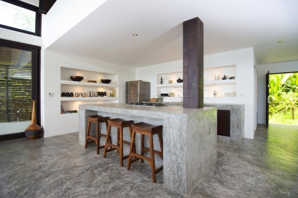 concrete kitchen countertops island Tropical Beach Villa
