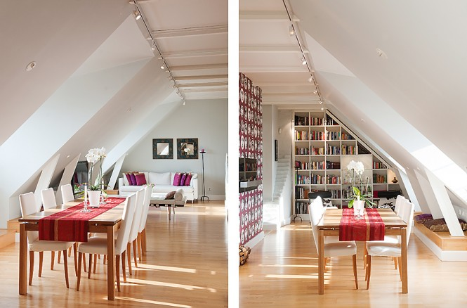 Red white dining room feature wallpaper