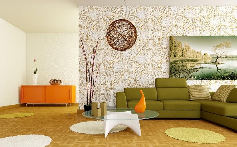 Retro White Orange Green Living Room Interior Design Ideas