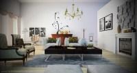 black white living room yellow chandelier | Interior ...
