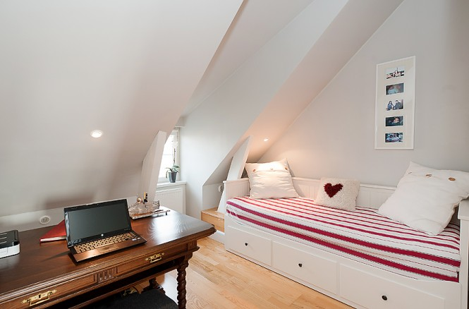 red white guest bedroom