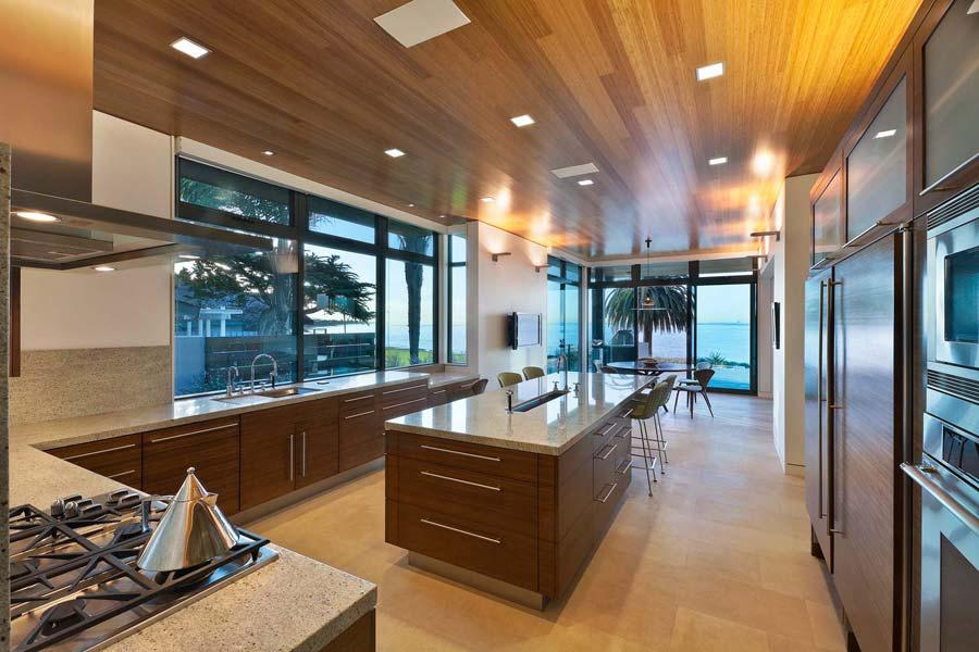 Walnut Slab Front Kitchen Units Interior Design Ideas
