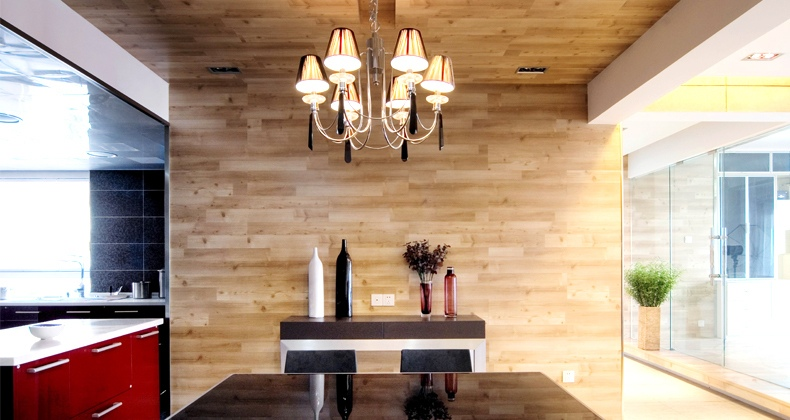 wood clad wall red kitchen  Interior Design Ideas