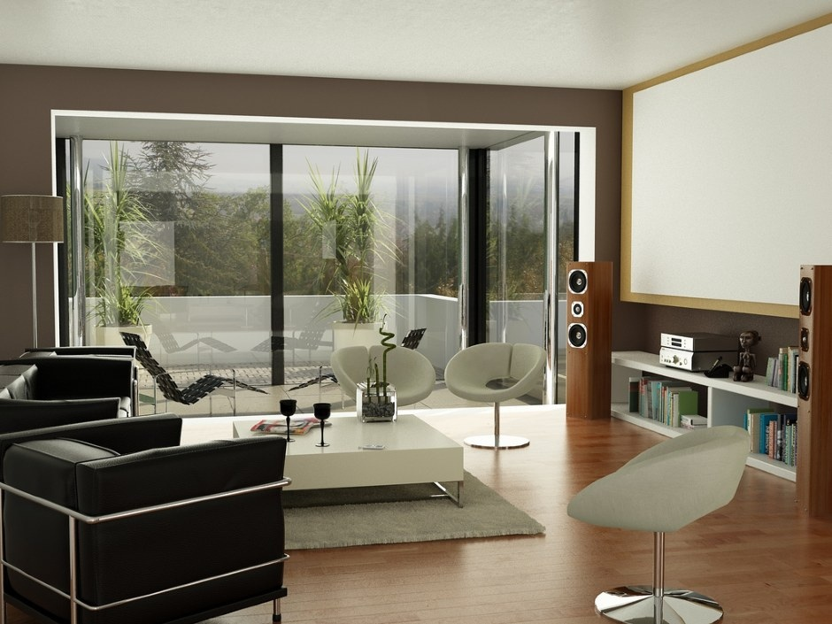 Black brown white living room projector screen  Interior