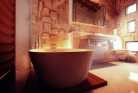 Contemporary bathroom textured wall treatment | Interior ...