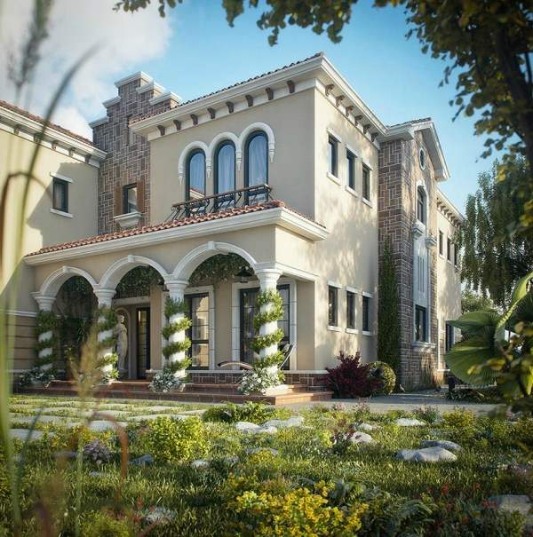 Tuscan Villa Style Home Design