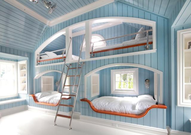 blue white bedroom bunks