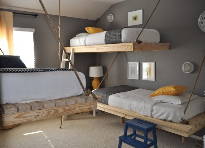 gray yellow white bedroom suspended beds
